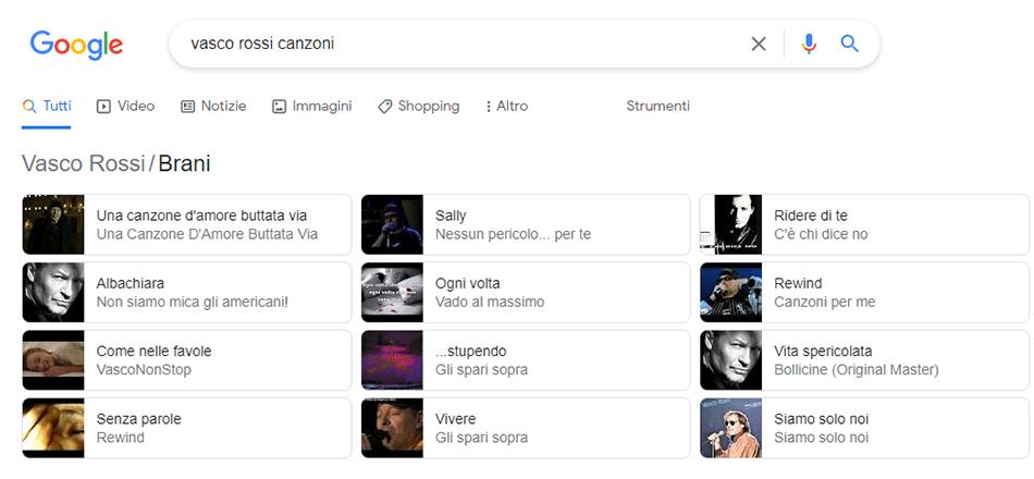 Esempio di visualizzazione dei dati strutturati sulla serp di Google